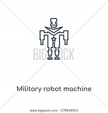 Military Robot Machine Icon In Trendy Design Style. Military Robot Machine Icon Isolated On White Ba