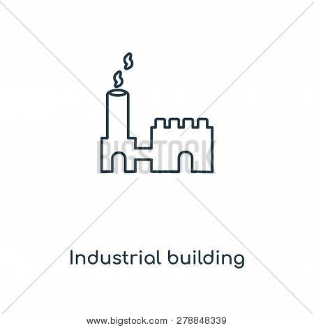 Industrial Building Icon In Trendy Design Style. Industrial Building Icon Isolated On White Backgrou