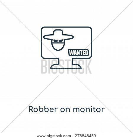 Robber On Monitor Icon In Trendy Design Style. Robber On Monitor Icon Isolated On White Background.