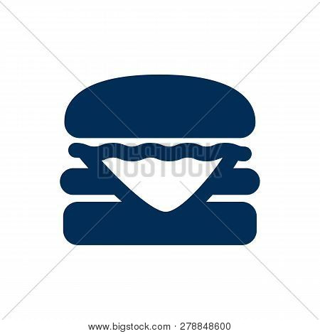 Isolated Burger Icon Symbol On Clean Background. Vector Cheeseburger Element In Trendy Style.