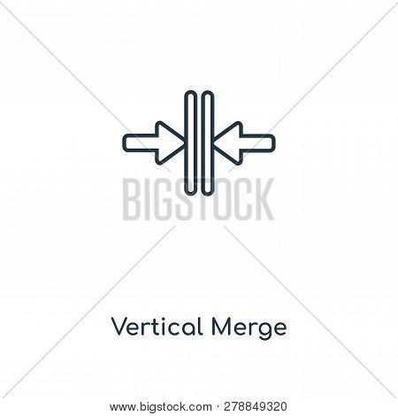 Vertical Merge Icon In Trendy Design Style. Vertical Merge Icon Isolated On White Background. Vertic