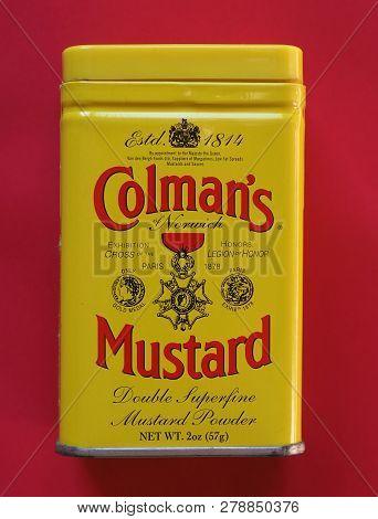Norwich, Uk - Circa January 2019: Colman English Mustard Double Superfine Powder