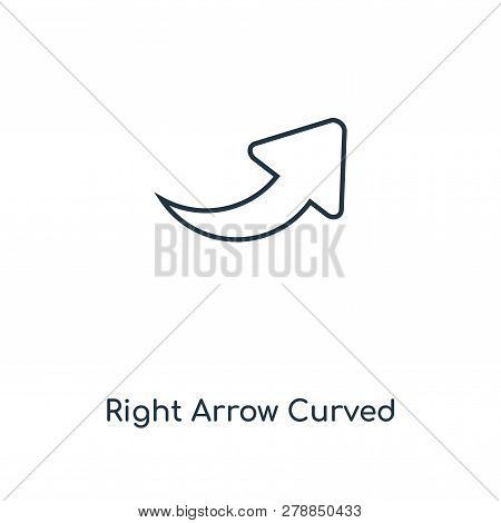 Right Arrow Curved Icon In Trendy Design Style. Right Arrow Curved Icon Isolated On White Background