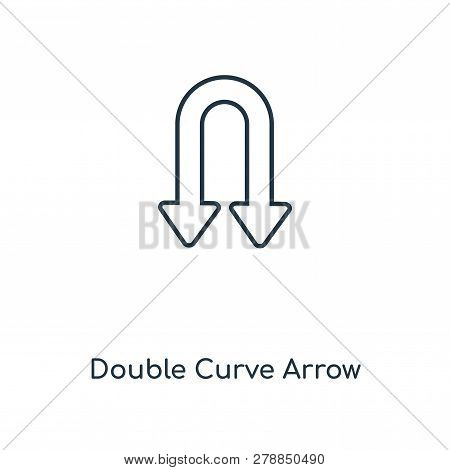 Double Curve Arrow Icon In Trendy Design Style. Double Curve Arrow Icon Isolated On White Background