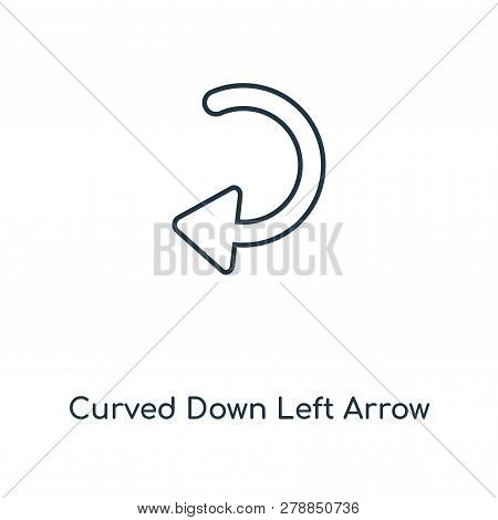 Curved Down Left Arrow Icon In Trendy Design Style. Curved Down Left Arrow Icon Isolated On White Ba