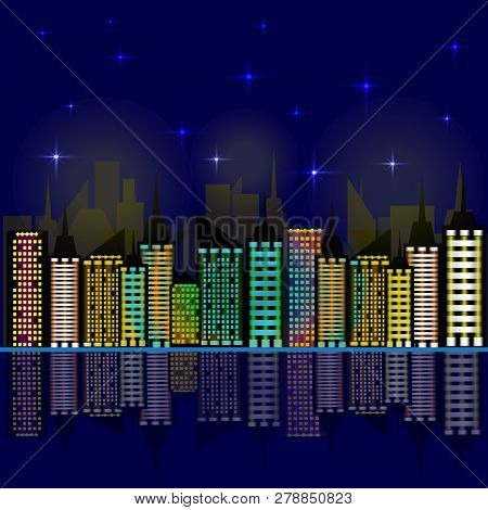 poster of City at night. Skyscrapers reflected in the water. Vector illustration