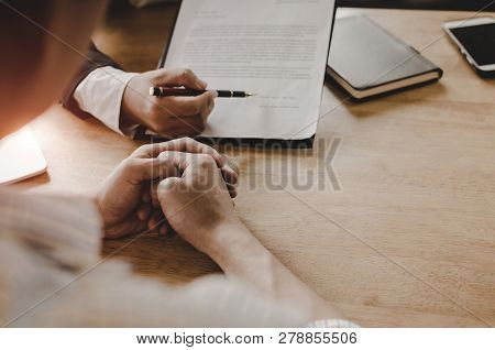 Legal Consultants, Notary Or Justice Lawyer Discussing Contract Document And Notebook On Desk With C