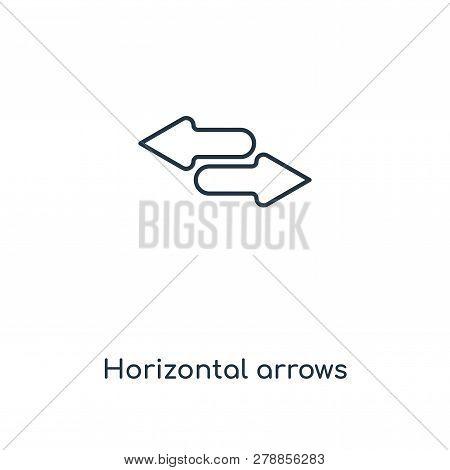 Horizontal Arrows Icon In Trendy Design Style. Horizontal Arrows Icon Isolated On White Background.