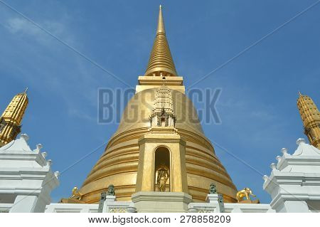 King Rama Iv Statue And Golden Pagoda, Bowonniwet Vihara Temple, Bangkok, Central Of Thailand