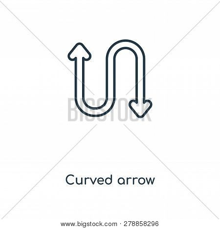 Curved Arrow Icon In Trendy Design Style. Curved Arrow Icon Isolated On White Background. Curved Arr
