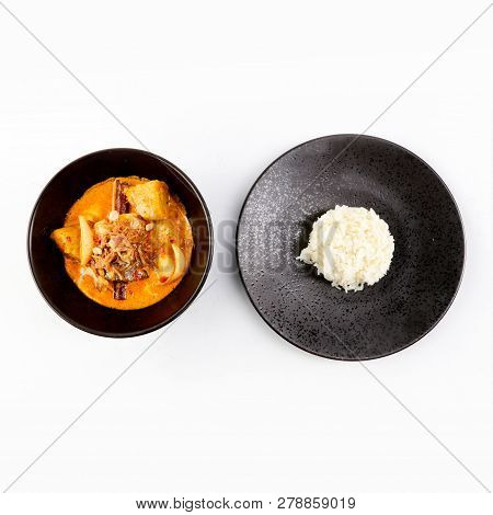 Thai Massaman Curry In A Bowl And Rice , Thai Coconut Milk Curry