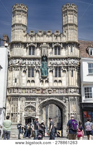 Canterbury, England - June 24, 2018: View Of Tourists In Front Of The Front Gate Tower Entrance Of T