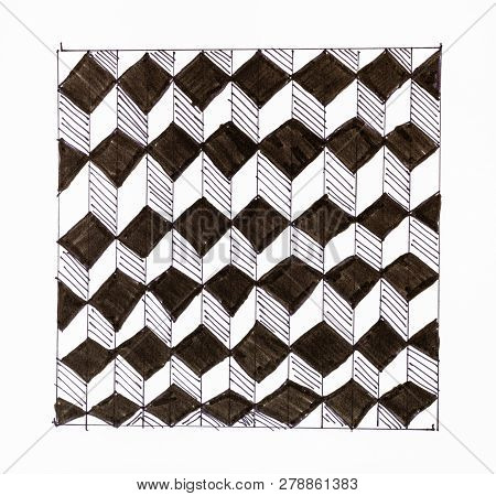 Abstract Hand Drawn Pattern On White Paper By Felt Pen - Black And White Chequered Ornament From Cub