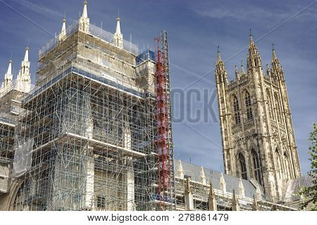 Canterbury, England - June 24, 2018: Construction Scaffoldings Around The Iconic Landmark Of The Can