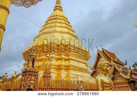 Wat Phra That Doi Suthep Golden Pagoda At Chiang Mai City Thailand.wat Phra That Doi Suthep Is The M