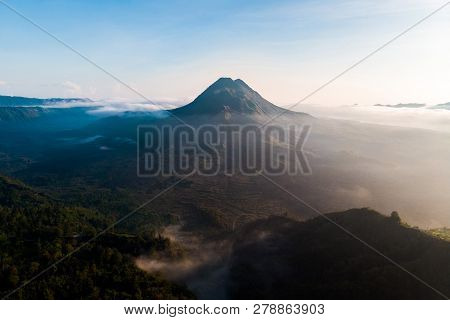 Beautiful View Sunrise And Mist At Batur Volcano, Kintamani, Bali, Indonesia. Sunrise View Of Batur