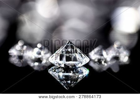 Flawless Shiny Brilliant Cut Diamonds, Black Background, Closeup