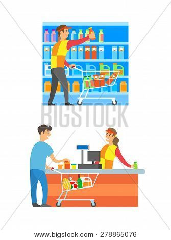 Supermarket Cashier And Merchandiser Set Vector. Counter And Client Buying Food And Grocery Products