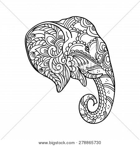 Drawing Zentangle Elephant, For Coloring Book For Adult Or Other Decorations. Black And White Versio