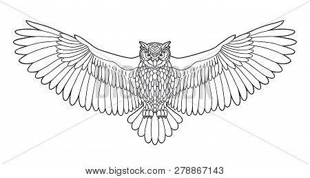 Owl. Eagle Owl Outline Emblem In Hipster Style. Birds. Black White Hand Drawn Doodle. Icon Design On