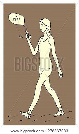 Girl Using A Smartphone. Flat Design Cartoon. Talk To Each Other Using A Smartphone. Flat Cartoon Ve