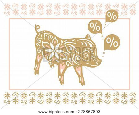 Sign Pig. Happy Chinese New Year 2019 Year Of The Pig. Hand Drawn Style Vector Design Illustrations