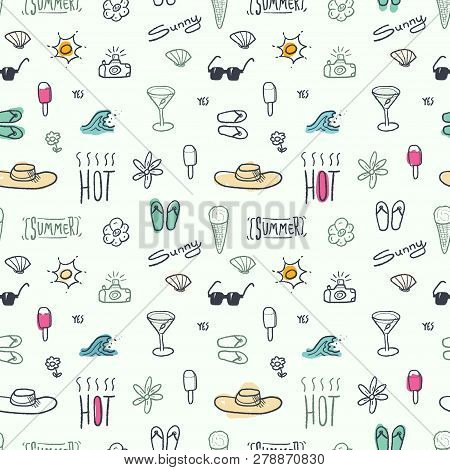 Seamless Doodle Pattern With Summer Vacation And Beach Themes - Textile Or Bedsheet Quirky Design Ve