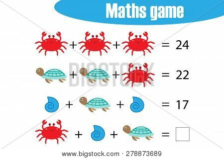 Maths Game With Pictures Ocean Animals For Children, Middle Level, Education Game For Kids, Preschoo