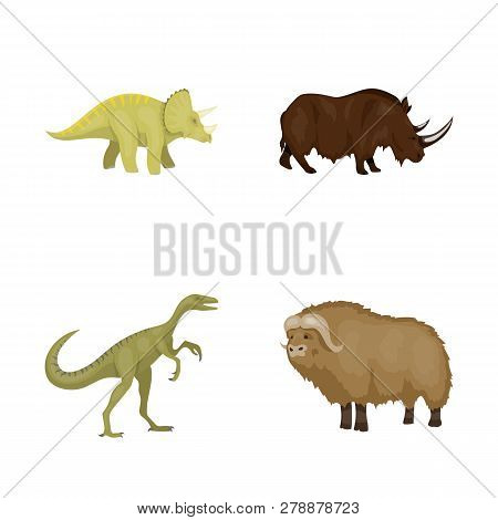 Vector Design Of Animal And Character Symbol. Set Of Animal And Ancient  Vector Icon For Stock.