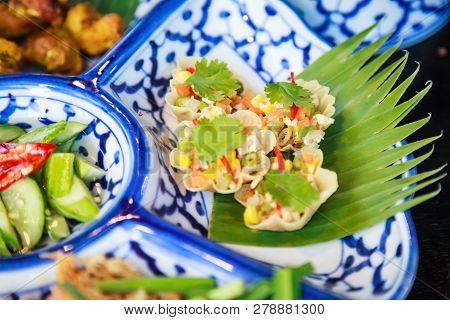 Thai Food Cuisine, Kratong Thong (herb Minced Pork Or Chicken And Sweet Corn In Pastry, Golden Shell