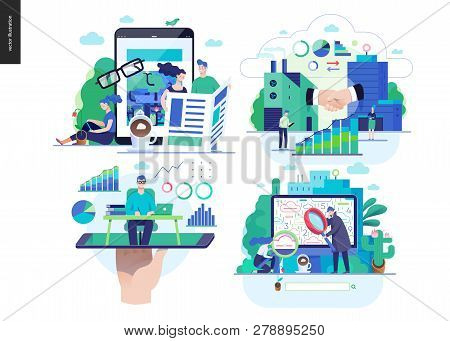 Business Series Set, Color 2-modern Flat Vector Concept Illustrated Topics - News - Articles, B2b Pa