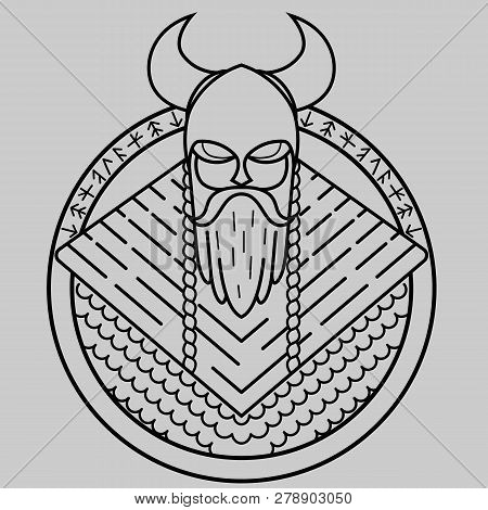 Viking Of Lines, Warrior From The North, Formidable Warrior In Helmet With Horns, Pattern For Laser