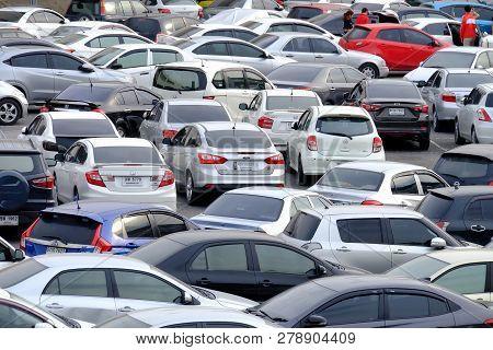 Bangkok, Thailand - November 07,2018 : Many Cars Parking In The Outdoor Parking Lot Area At Chatucha