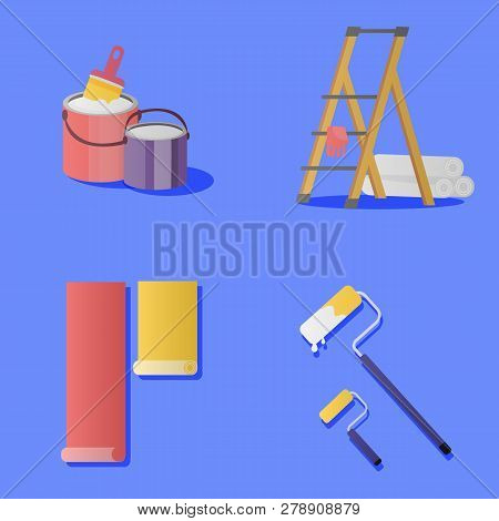 Stock Vector Illustration Set Painting And Wall Upkeep Tools. Isolated Illustrations Of Two Paint Bu