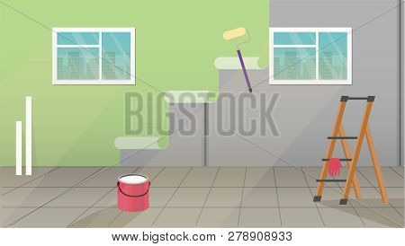 Illustration Of Interior With Painting And Wall Upkeep Tools Such As Paint Roller, Wallpapers, Paint