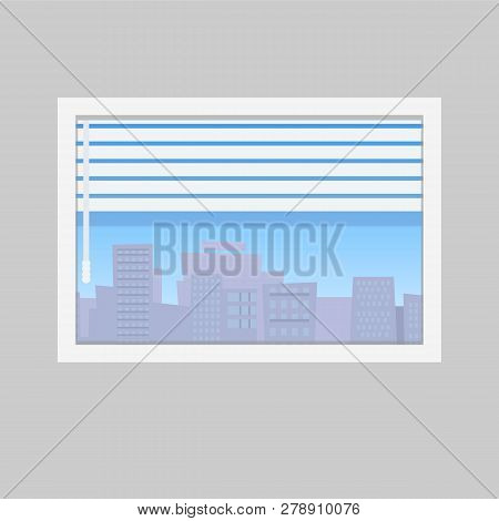 Room Window With Jalousie And City Skyline View. Window Framed Concept With Urban Buildings View.