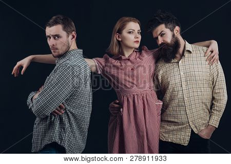 Gorgeous 50s Styling With Plaid Print. Sensual Woman And Men In Retro Style. Classic Fashion Collect