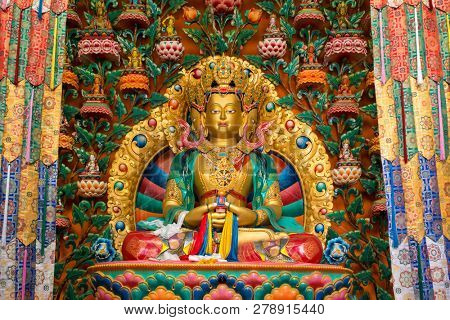 Buddha statue in buddhist Matho monastery ( Gompa ) temple in Leh, Jammu and Kashmir state, Ladakh, India