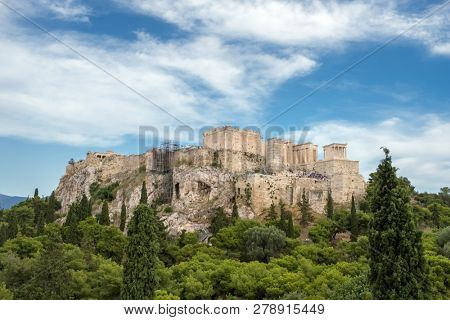 Acropolis with Parthenon and the Herodion theatre. View from the hill of Philopappou, Athens, Greece.