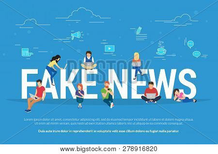 Fake News And And Information Fabrication Concept Flat Vector Illustration Of Young People Using Lap