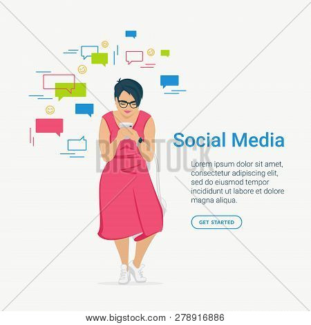 Social Media Concept Flat Vector Illustration Of Young Woman And Using Mobile Smartphone For Texting