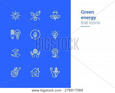 Green Energy Line Icons. Set Of Line Icons On White Background. Environment Concept. Ecology, Planet