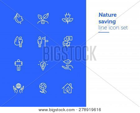 Nature Saving Line Icon Set. Set Of Line Icons On White Background. Ecology Concept. Leaf, Person, B