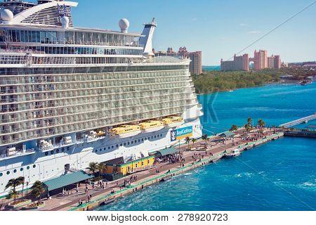 NASSAU, BAHAMAS - January 7 ,2019.Cruise ship docked in the Nassau Port.