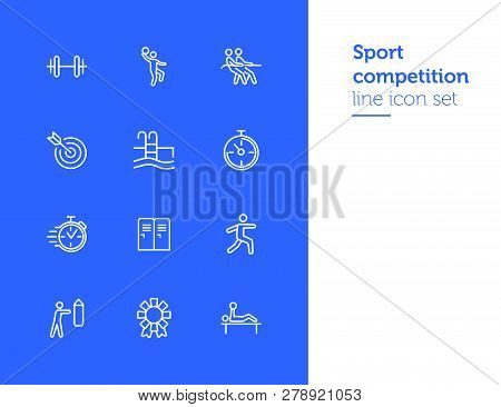 Sport Competition Icons. Set Of Line Icons. Gym Lockers, Barbell, Swimming Pool. Sports Activity Con
