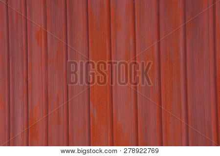 Red Metal Texture From Iron Fence Wall