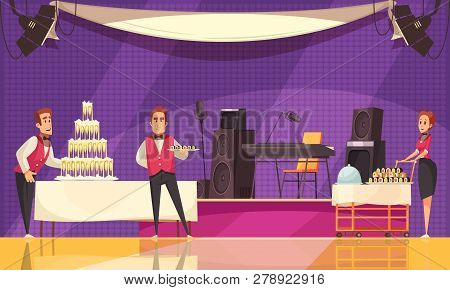 Service Personnel Of Restaurant Or Cafe During Banquet Preparation On Purple Background Cartoon Vect