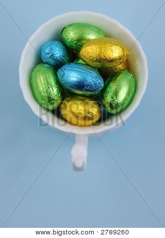 Easter Eggs In White Cup
