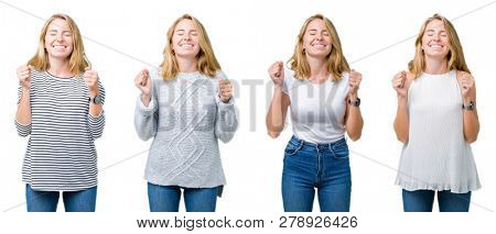 Collage of beautiful blonde woman over white isolated background excited for success with arms raised celebrating victory smiling. Winner concept.
