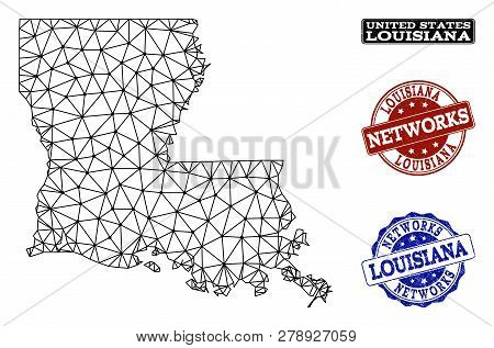 Black Mesh Vector Map Of Louisiana State Isolated On A White Background And Scratched Stamp Seals Fo